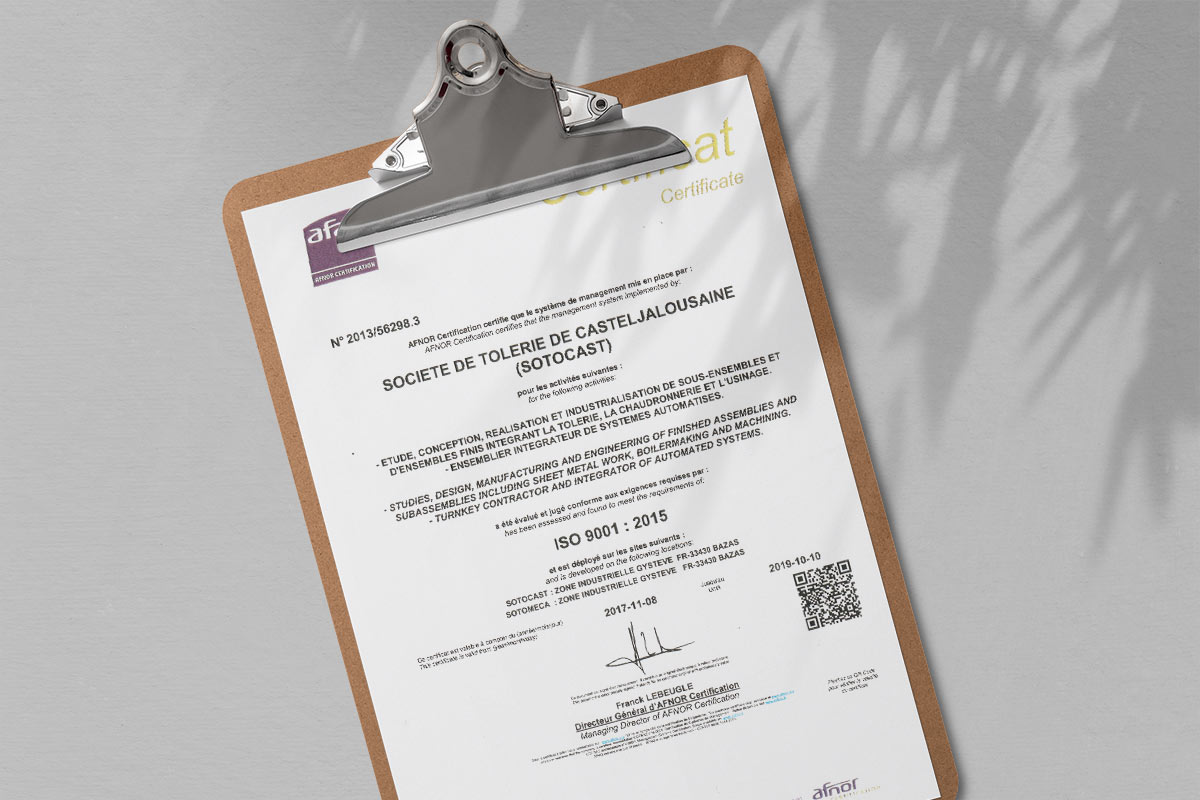 document officiel de certification iso 9001